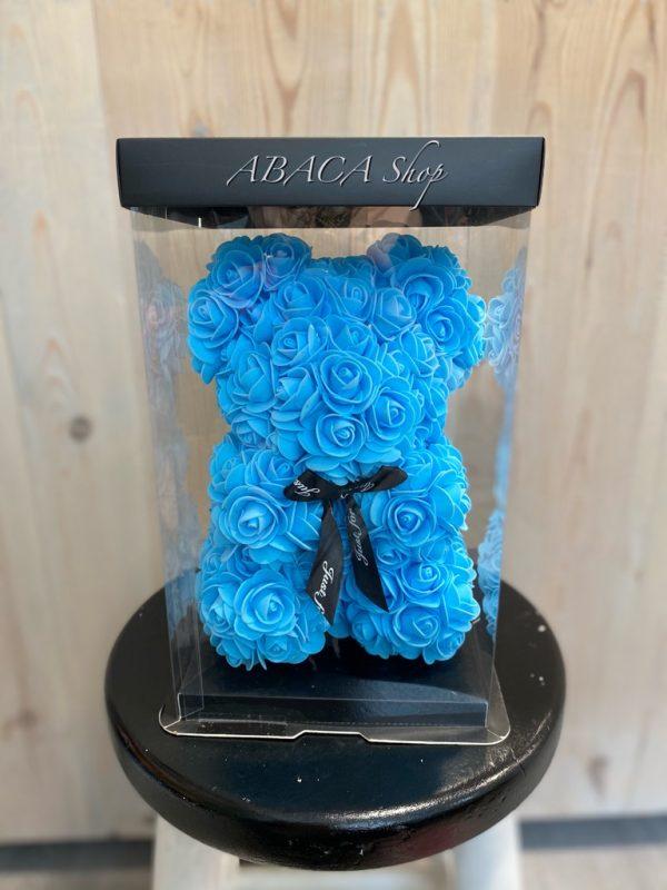 Ours de roses en mousse bleu